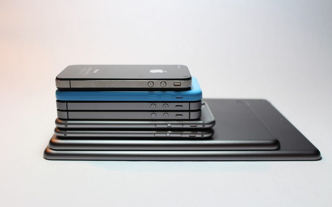 Mobile phones stacked on top of eachother