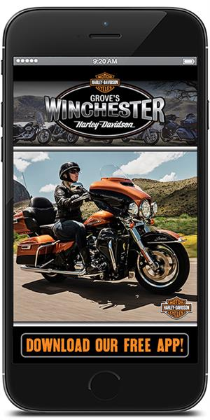 Stay in touch with Grove's Winchester Harley-Davidson using their mobile application available for both Apple and Android