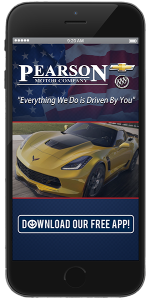 Go to the iTunes or Google Play store to download the Pearson Motor Company mobile application